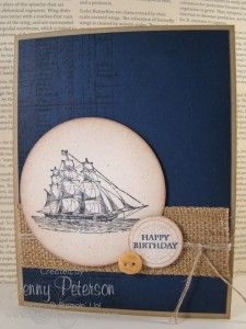 The Open Sea Masculine Card, Stampin' Up! Demonstrator, Jenny Peterson, www.lakeshorestamping.com