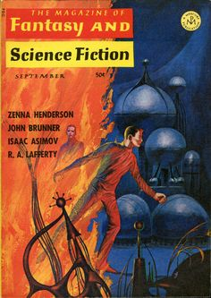 """https://flic.kr/p/oZWrSq   Untitled   The Magazine of Fantasy and Science Fiction, September 1966. Contains """"Narrow Valley"""" by R A Lafferty and """"Mr. Wilde's Second Chance"""" by Joanna Russ. Cover by Jack Gaughan."""