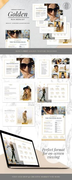 GOLDEN Theme | Blog Media Kit by Marigold Studios on @creativemarket