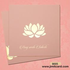 A very beautiful invite in attractive light pink with the bride & groom's name printed in the bottom. This large #lotus with a gold color in the middle adds magnificence.  Check out more on www.jimitcard.com