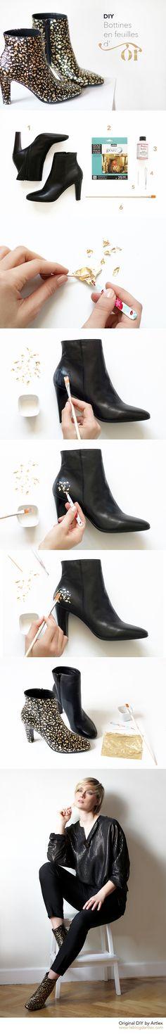 Gold Shoes DIY // DIY chaussures @eram // DIY feuilles d'or // DIY Noel // Diy feuilles dorées // DIY chaussures dorées // DIY Chaussures or Diy Mode, Diy Fashion, Suits, Inspiration, Ideas, Golden Shoes, Accessories, Fashion Ideas, Leaves