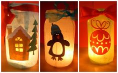 Christmas laterns tutorial using old jars and cricut
