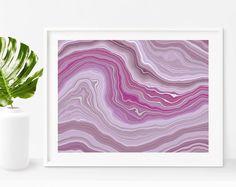 Purple Agate Waves Faux Silver Art Print  by STYLISTdigital