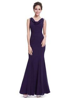 Sleeveless Cowl Neck Mermaid Evening Dress - Ever-Pretty US