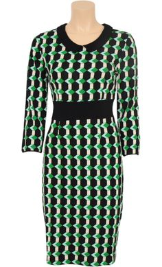 Vintage Inspired Autumn | ◦ | Audrey Dress Illusion - Graphic Print Meadow Green | ◦ | King Louie AW14