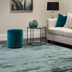Katherine Carnaby Chrome Rug in Petrol buy online from the rug seller uk Bespoke Furniture, Blue Living Room, Curtains Living Room, Blue Rooms, Plain Rugs, Living Room Modern, Taupe Rug, Room Inspiration, Viscose Rug