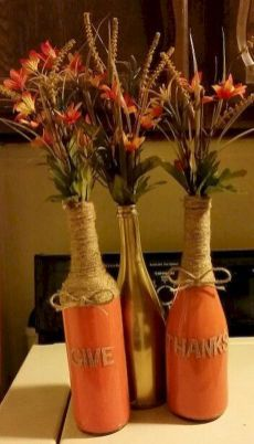 Empty Wine Bottles For Thanksgiving Or Decorations bottle crafts fall Fall Wine Bottles, Wine Bottle Art, Painted Wine Bottles, Decorated Bottles, Bottle Lamps, Wine Bottles Decor, Glass Bottles, Wine Bottle Centerpieces, Bottle Decorations