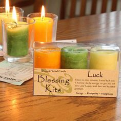 Our luck spell candle kits contain a triad of three hand poured, blessed herbal votive spell candles by Coventry Creations. These spell candles are the smaller votive version of the popular blessed he