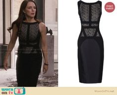 Victoria's black lace panel dress on Revenge. Outfit Details: http://wornontv.net/28247/ #Revenge