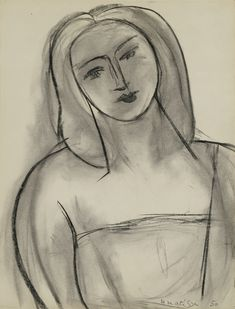 Henri Matisse 1869 - 1954 TÊTE DE FEMME Signed H Matisse and dated 50 (lower right) Charcoal and estompe on paper. Executed in Matisse Drawing, Matisse Art, Bad Drawings, Drawing Sketches, Henri Matisse, Black Crayon, Impressionist Art, Art Graphique, Magazine Art
