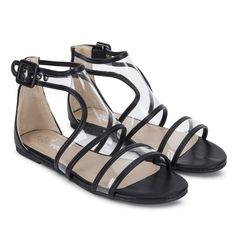 8f0192fc9a91 MISO Perspex Sandals view 2 Black Flats