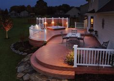 Outdoor Deck Design With Deck Outdoor Lighting Concept With Wide Area White Wooden Fence And Living Space And Elegant Lighting