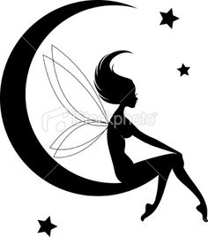 Fairy Moon Silhouette Royalty Free Stock Vector Art Illustration