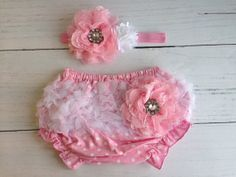 Pink Baby Bloomer and Headband Set by SomethingBleuShop on Etsy, $20.00