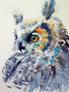 ARTFINDER: Great horned owl IV by Kovács Anna Brigitta - Original watercolour painting on high quality watercolour paper. I love landscapes, still life, nature and wildlife, lights and shadows, colorful sight. Owl Watercolor, Watercolor Art Paintings, Watercolor Animals, Animal Paintings, Art Fantaisiste, Owl Art, Bird Artists, Art Deco Posters, Art Abstrait