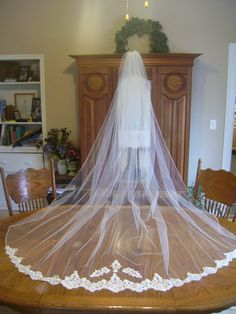 Ivory Cathedral drop Veil beaded alencon lace by brookesbridal
