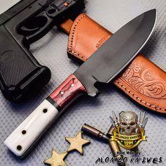 ALONZO KNIVES USA CUSTOM HANDMADE TACTICAL HUNTING 1095 KNIFE CAMEL BONE 3318 #AlonzoKnives
