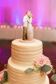 romantic bride and groom cake topper