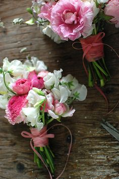 Ranunculus, spirea, cherry blossom and tulips