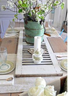 old shutter on barnwood table