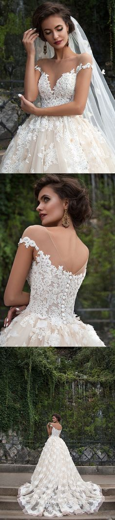 vintage lace illusion neckline cap sleeves ball gown tulle wedding dress