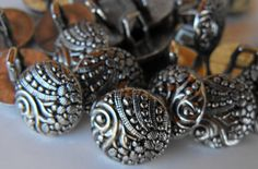 25 Silver Round Design Shanked Buttons by AJStuff on Etsy, $2.50