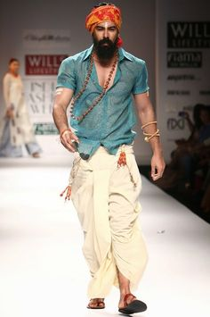 Dhoti with Sheer Shirt and Head Wrap