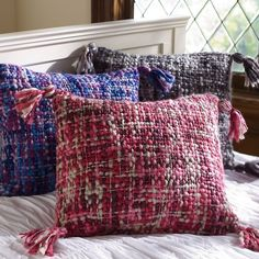 PB Teen Chunky Knit Pillow Cover, 18x18, Grey Multi at Pottery Barn... ($15) ❤ liked on Polyvore featuring home, bed & bath, bedding, grey, gray shams, square pillowcases, zippered bedding, gray bedding and funky bedding