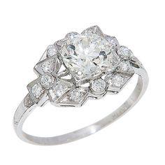 Antique Diamond Engagement Ring #jewelry #ring #diamonds