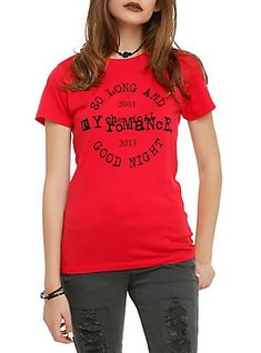 My Chemical Romance So Long And Goodnight Girls T-Shirt, RED - Size Medium