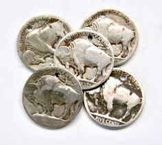 Authentic Buffalo Indian Head Nickel Charms or Coins - 1919 to 1938 Coin Values, Pewter Color, Indian Head, Dollar Coin, Silver Lockets, Coin Collecting, Leather Jewelry, Grey Leather, Buffalo