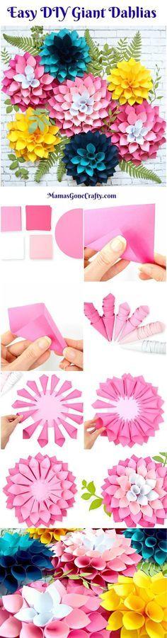How to make giant paper flower dahlias. Flower Templates. DIY Paper Flowers. How to make a flower wall.