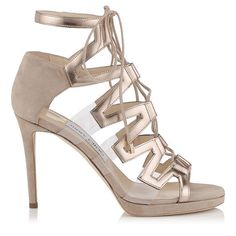 JIMMY CHOO Dani 100 Nude Suede, Mirror Leather And Perspex Sandals. #jimmychoo #shoes #s