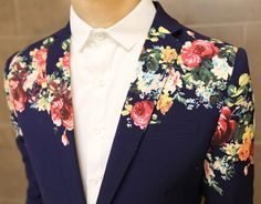 To create the perfect mens fashion 'look', wear a floral blazer to match your style. If you have a button down, or plain t-shirt, wear it inside the blazer.