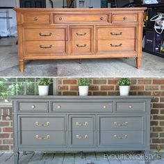 WEBSTA @ evolutionofstyleblog - Couldn't wait to share this gorgeous dresser (that is available for $595 if you live in the Dayton-Cincinnati area). It's painted in Kendall Charcoal with One Step Paint from @amyhowardhome, and has a walnut stained top. Original hardware, restored with the help of Rub 'n Buff. It's so pretty, I'm tempted to keep it for myself! #furniture
