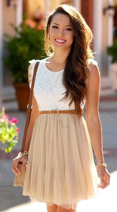 Loving this light spring dress! Her skin is glowing as well.