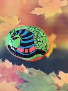 Striped Halloween Witchs Hat Hand Painted Rock with Spider on