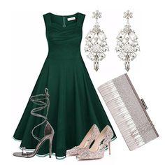 Outfit per una serata importante. L'argento si fonde con il verde per dare un…