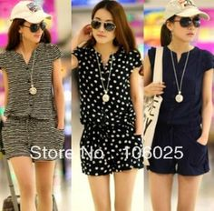 FREE SHIPPING 2013 Summer women's Casual short sleeve V neck elastic waist jumpsuits blue, striped & dots plus size- M,L,XL,XXL $10.98 - 11.99
