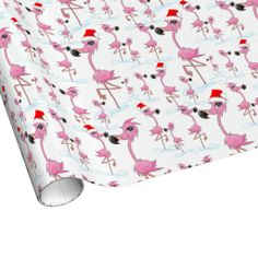 Cute Pink Flamingos Santa hat Wrapping Paper- Christmas wrapping paper