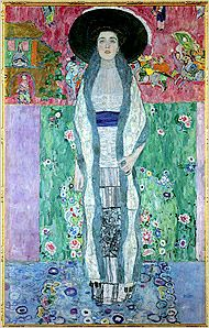 """I love this portrait by Gustav Klimt.  I believe it is titled, """" Adele study ll (or close)..   I love the symmetry, it's almost like she has her arms out like wings.  The colors are so pretty and complementing of each other.  Her expression is sort of tired yet determined....earnest.  Anyways, I really love it."""
