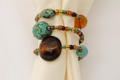 Set of Four Beaded Napkin Rings Southwestern by BrittanysBest