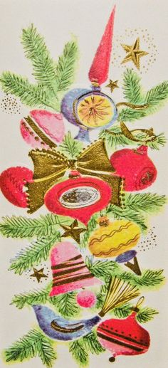 Vintage Christmas Ornaments 1950s, Vintage Christmas Images, Retro Christmas, Xmas Ornaments, Vintage Holiday, Christmas Art, Old Time Christmas, Christmas Scenes, Merry Little Christmas
