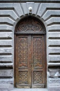 Carved Door on Abovyan Street in Yerevan, Armenia~