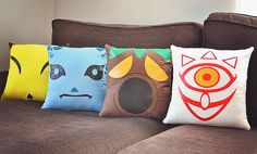 ONE Legend of Zelda: Majora's Mask - Mask Pillow YOU CHOOSE | Video Game Pillow http://www.wiredlifeshop.etsy.com