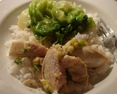 steamed garlic chicken, rice and some salad- authentic chinese food
