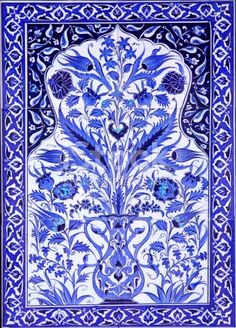 the detail of a Turkish tile from Grand Bazaar .