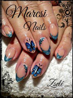 Beautiful butterfly nail,blue butterfly nail art