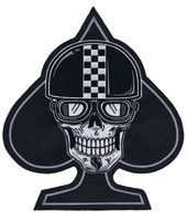 Racer Spade Skull Embroidered Patch