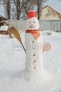 Christmas holidays - rustic snow man in my garden
